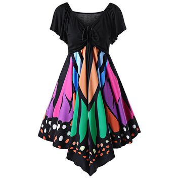 Women Butterfly Shaped Plus Size Party Dress