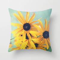 Sweet Yellow Flowers Throw Pillow by Olivia Joy StClaire