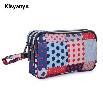 Fashion Women Wallet Canvas  3 - Layer Zipper Large Capacity Day Clutch Coin Purse for Cellphone Monederos Para Mujer Cremallera