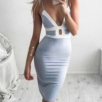 Chain Reaction Deep V neck Bodycon Dress