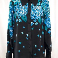 Silk Blouse Bob Mackie Wearable Art Blue Beaded Sequin Floral Hydrangea Large