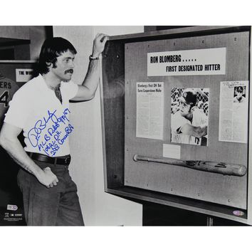 Ron Blomberg Standing by Display Commemmorating Him As The MLBs First Designated Hitter Horizontal B&W 16x20 Photo w MLB Debut 1