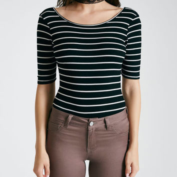 Striped Scoop-Back Bodysuit | Wet Seal