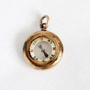 Antique Compass Pendant / Petit Transparent Compass Charm