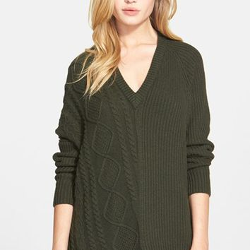 Women's autumn cashmere Asymmetrical Cable Knit Sweater,