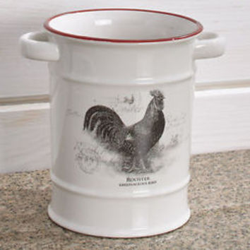 Farmhouse Rooster Utensil Crock Holder Countertop Organizer Country Kitchen