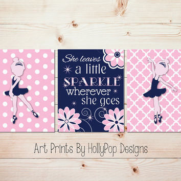 Baby girl nursery decor Ballerina nursery art She leaves a little sparkle Navy blue pink nursery art prints Ballerina Decor Girls room #1335