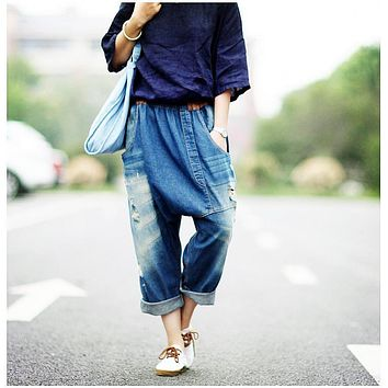 Fashion New Plus size Boyfriend Jeans Women Wide Leg Jeans Harem Pants Capris Trousers