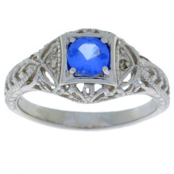 Tanzanite & Diamond Round Ring .925 Sterling Silver