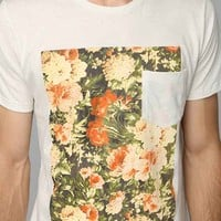Altru Floral-Pocket Tee- White XL