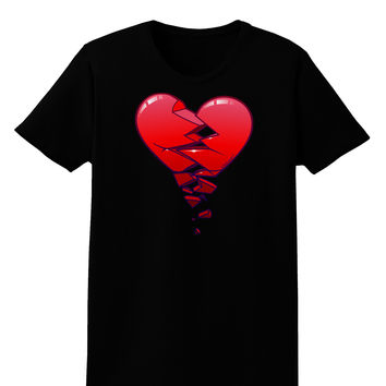 Crumbling Broken Heart Womens Dark T-Shirt