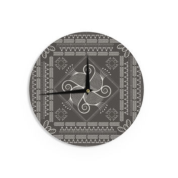 "Famenxt ""Paisley Into The Dreams Dark"" Gray Digital Wall Clock"