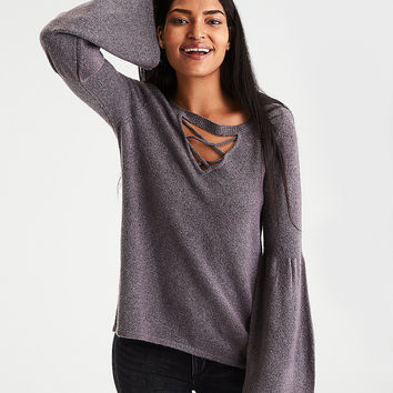 AE Strappy-Front Bell-Sleeve Sweater, Storm Heather