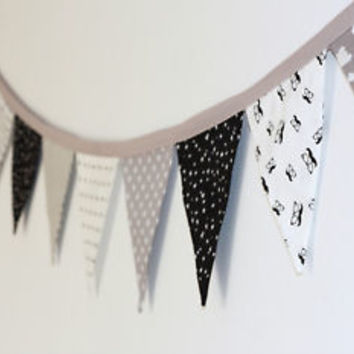 Flag Garland, Nursery Decoration, Black White and Grey Flag Banner