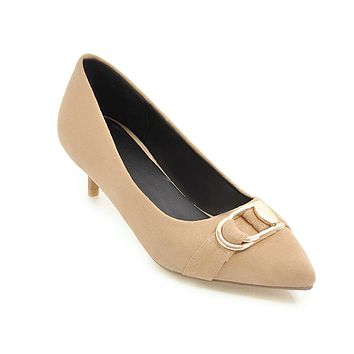 Pointed Toe Suede Mid Heel Pumps Shoes for Women 1957