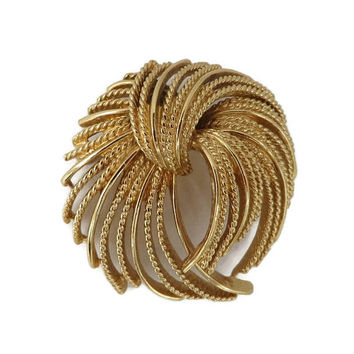 MONET Brooch, Gold Tone Textured Designer Signed Runway Vintage Costume Jewelry Gift Idea