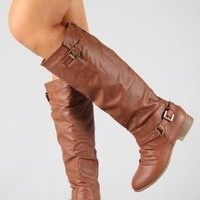 COCO 1 Womens Buckle Riding Knee High Boots,Coco-01v4.0 Tan 8.5