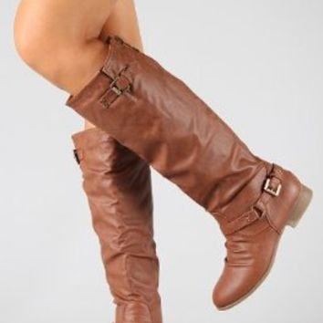 COCO 1 Womens Buckle Riding Knee High Boots TAN 10