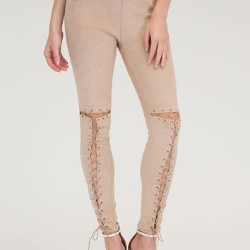 Tied Up Now Faux Suede Leggings