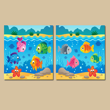 OCEAN Wall Art Canvas or Prints Fish Beach Bathroom Child Fish Underwater Bathroom Wall Art Set of 2