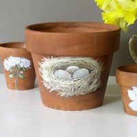 Nature Clay Pot Painted Woodland Bird Nest Garden Herb Planter Bird Eggs
