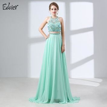 Long Prom Dresses 2017 Scoop Neckline Sleeveless Beaded Crystal African Mint Green Backless Two Piece Evening Prom Dress