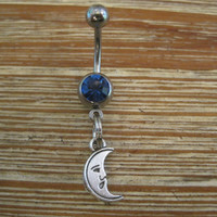Belly Button Ring - Body Jewelry - Silver Moon with Dark Blue Gem Stone Belly Button Ring