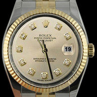 Datejust Rolex gents watch SS & gold silver diamond dial