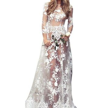Sexy Long Sheer floor-length Long Gown with lavish lace