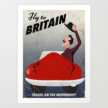Vintage British car travel poster Art Print by Nick's Emporium Gallery