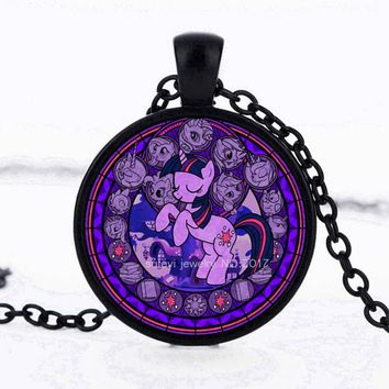 SUTEYI Fashion Movie jewelery My Little Ponies Cartoon Chains Pendant Round glass cabochon Chokers Necklaces Kids Party toy gift