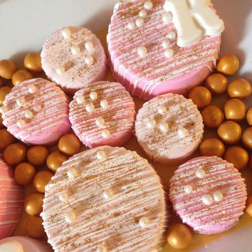 12 Mini Chocolate Covered Oreo Nutter Butters Sweets Table Candy Buffet Birthday Party Favors Pink Gold Radiant Orchid