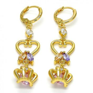 Gold Layered Long Earring, Leaf and Crown Design, with Cubic Zirconia, Gold Tone