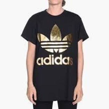 KUYOU Adidas Originals Women's Big Trefoil Tee (Black/Gold)