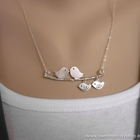 A Family of 4 Love Birds with 2 Baby on Branch by SweetMelodyShop