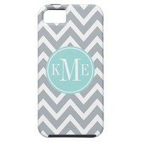 Gray Monogram Chevron Stripe | Apple iPhone 5 Case from Zazzle.com