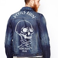 ASOS Denim Jacket With Stud and Skull Print Detail - Blue