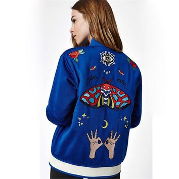 VONEF3L ADIDAS Fashion Embroidery Butterfly Cardigan Jacket Coat