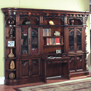 Barcelona Library Hutch & Desk Ladder Antique Walnut