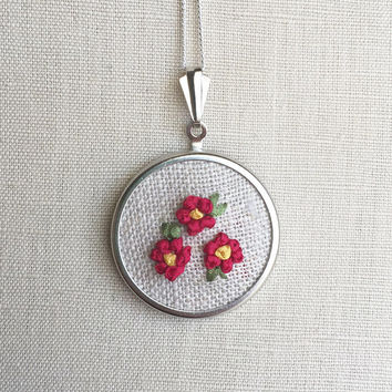 Silk Ribbon Embroidery Embroidered Necklace Pink Rose Flower Pendant or Brooch