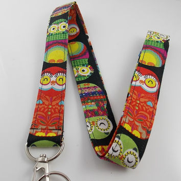 Owl Lanyard Rainbow Owl Lanyard Owl Key Holder Owl Necklace Animal Lanyard Bird Lanyard Birds of Prey Wise Owl Teacher Lanyard Barn Owl