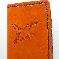 Handcrafted Carved Leather Mens Billfold Wallet Unique Bird Bi-fold