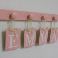 Custom Personalized Monogrammed Boutique Baby Name Wall Hanging for EMMA with 4 Wooden Pegs Pastel Pink