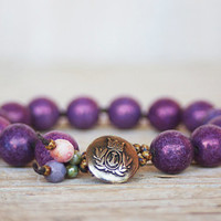 Beaded bracelet -  artisan boho - purple pressed glass beads