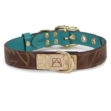 Turquoise Dog Collar with Dark Brown Leather + White Stitching