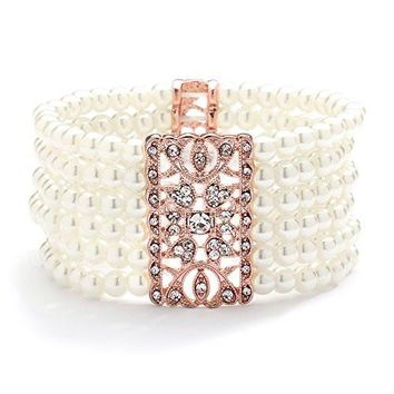 Mariell Rose Gold Vintage Ivory Glass Pearl & Crystal Stretch Bracelet