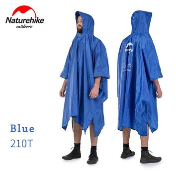 Naturehike Rain Poncho 3 in 1 Hiking Raincoat Hood With Brim Rain Waterproof Ground Tarp Awning for Camping NH17D002-M