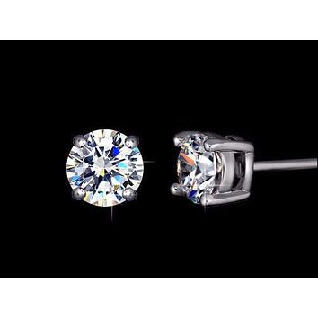 .75CT Round Cut Russian Lab Diamond Solitaire Platinum Stud Earrings
