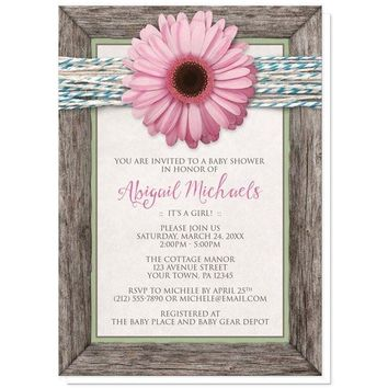 Rustic Chic Pink Daisy Turquoise Wood Baby Shower Invitations