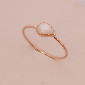 Pear Engagement Ring - Mother of Pearl Ring - Simple Engagement Ring, 14k Rose Gold